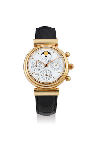 IWC. A Yellow Gold Perpetual Calendar Chronograph Wristwatch with MoonPhases, With box and certificate