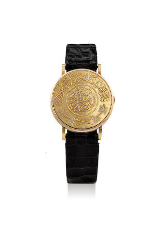 "Piaget. An Unusual and Rare Yellow Gold ""Saudi Arabian"" Coin Wristwatch"