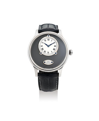 Jaquet-Droz. A Fine Limited Edition White Gold Wristwatch with Eccentric Dial