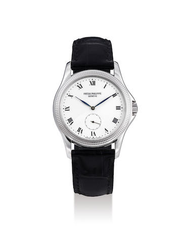 Patek Philippe. A Rare White Gold Wristwatch with Enamel Dial, With Extract from the Archives