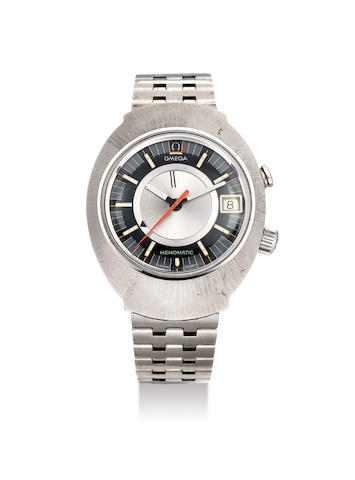 Omega. A Stainless Steel Bracelet Watch with Date and Alarm