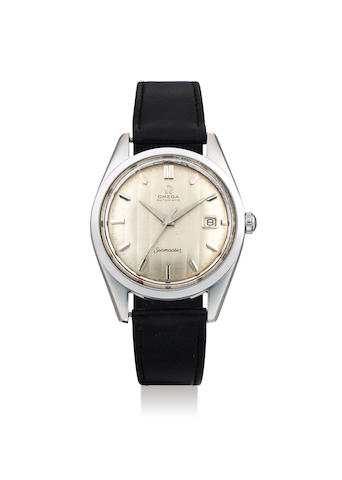 Omega. A 'Jumbo' Stainless Steel Wristwatch with Linear Dial and Date