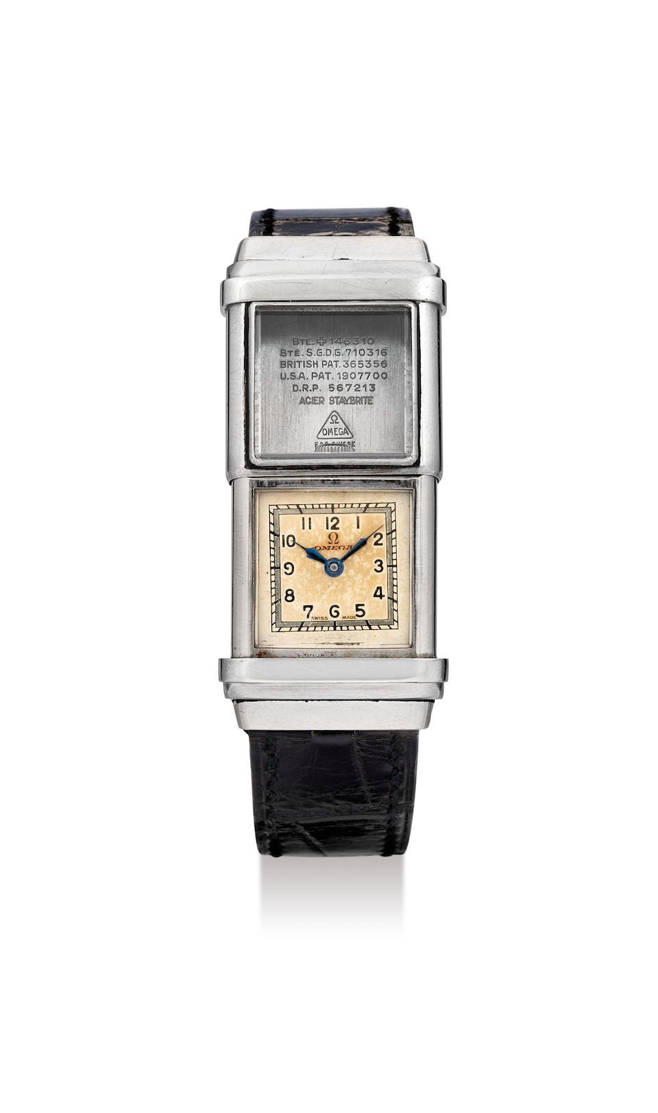 Omega. An Unusual Stainless Steel Square Wristwatch with Water Resistant Sliding Case