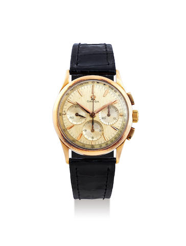 Omega. A Pink Gold Chronograph Wristwatch