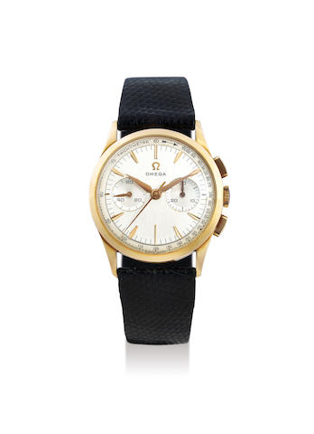 Omega. A Yellow Gold Chronograph Wristwatch