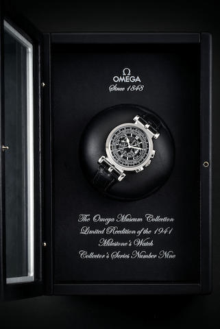 Omega. A Limited Edition White Gold Chronograph Wristwatch, With box and warranty card