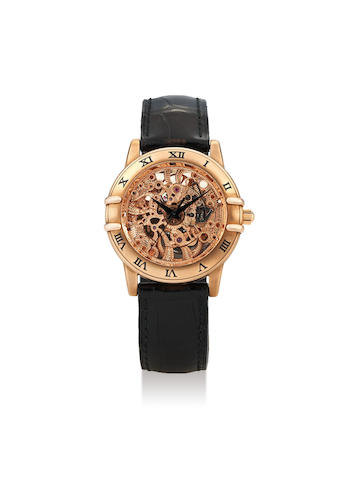 Omega. A Very Rare Limited Edition Pink Gold Skeletonized Wristwatch