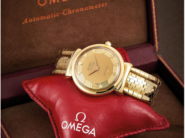 Omega. A Yellow Gold Bracelet Watch with Hooded Lugs, With box