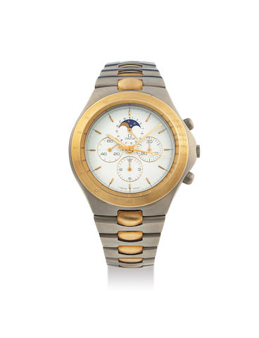 Omega. A Titanium and Yellow Gold Chronograph Bracelet Watch with Moon-Phases Made for the German Market