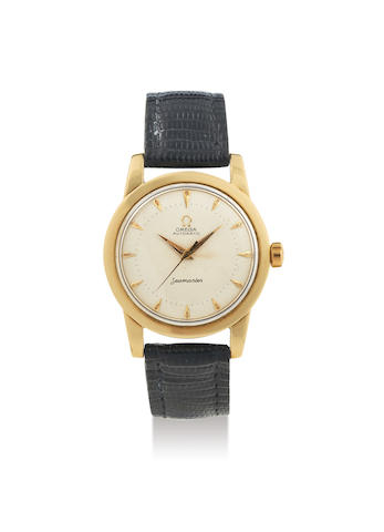 Omega. A Stainless Steel and Gold Plated Wristwatch with Honeycomb Dial