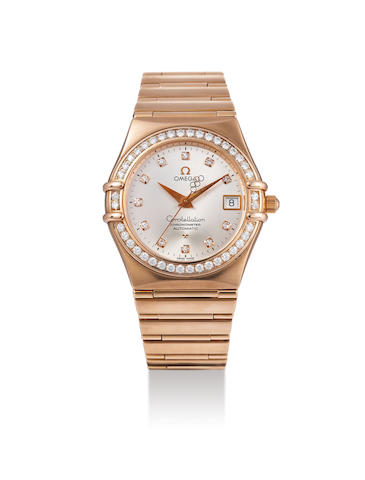 Omega. A Limited Edition Pink Gold and Diamond-Set Bracelet Watch with Date, Made to Commemorate the 2008 Beijing Olympic Games, With box