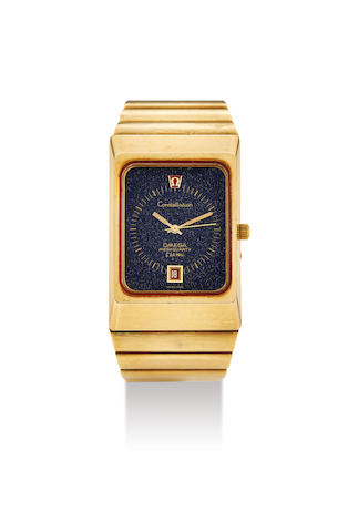 Omega. A Yellow Gold Rectangular Bracelet Watch with Date