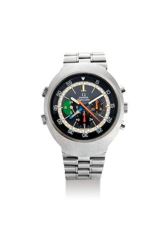 Omega. A Stainless Steel Chronograph Bracelet Watch with Inner Rotating Bezel and Second Time Zone