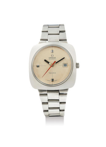 Omega. A Stainless Steel Cushion Form Bracelet Watch with Date