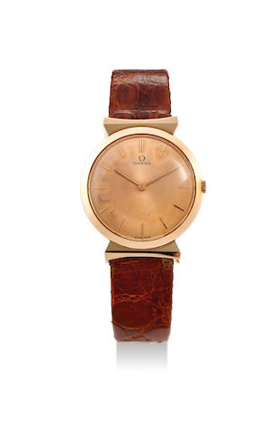 Omega. A Pink Gold Wristwatch with hooded lugs