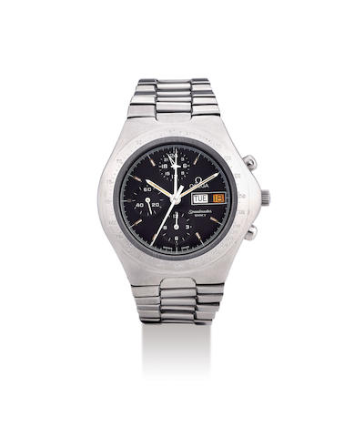 Omega. A Stainless Steel Chronograph Bracelet Watch with Day and Date