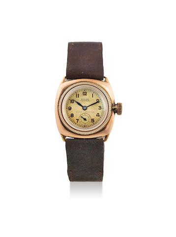 Rolex. A Mid-Size 9K Pink Gold Cushion Form Wristwatch Retailed by P. ORR & Sons Ltd