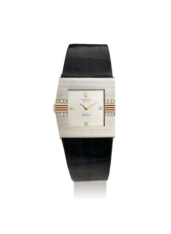Rolex. A Mid-Size White and Yellow Gold Diamond-Set Left-Handed Asymmetrical Wristwatch