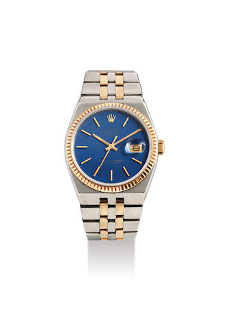 Rolex. A Stainless Steel and Yellow Gold Tonneau Form Quartz Bracelet Watch with Date