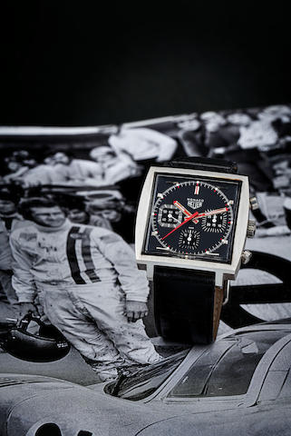 Heuer. A stainless steel chronograph square wristwatch