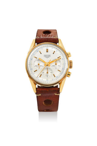 Heuer. A Carrera Re-Edition Yellow Gold Chronograph Wristwatch