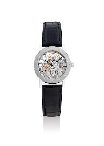 Bvlgari. A Fine White Gold Skeletonised Wristwatch