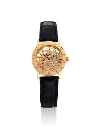 Bvlgari. A Fine Yellow Gold Skeletonised Wristwatch