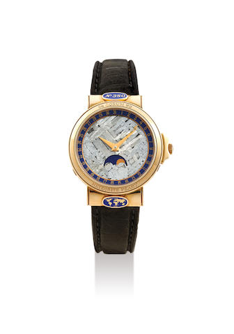 Corum. A Yellow Gold Limited Edition Automatic Wristwatch with Moon Phases, Date and Meteorite Dial