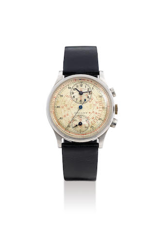 Gallet. A Stainless Steel Chronograph Wristwatch with Regulator Dial