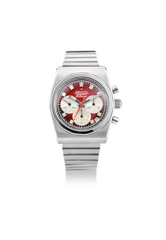 Zenith. A Rare Stainless Steel Chronograph Wristwatch with Date and Brick Red Dial