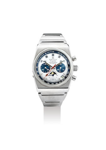 Zenith. A Rare Stainless Steel Triple Calendar Chronograph Wristwatch with MoonPhases
