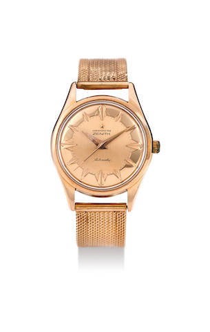 Zenith. A Fine Pink Gold Centre Seconds Wristwatch, With box