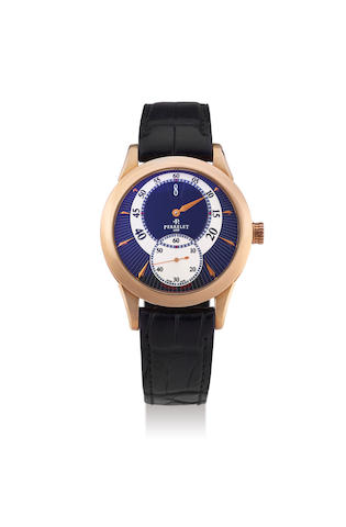 Perrelet. An Oversized Pink Gold Jump Hour Wrsitwatch with Eccentric Dial