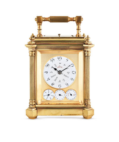 Grande Sonnerie. A Very Rare Gilt Brass Grande and Petite Sonnerie Striking Carriage Clock with Day, Date and Alarm, all in Thai, With Fahrenheit and Centigrade Thermometer