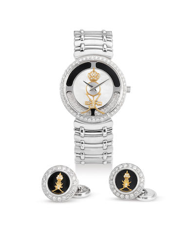 Sarcar. A Rare White Gold and Diamond Bracelet Watch with Mother-of-Pearl and Diamond Dial, With Saudi Arabian National Crest, With Matching Cufflinks, Retailed by Asprey, With box and a set of cufflinks