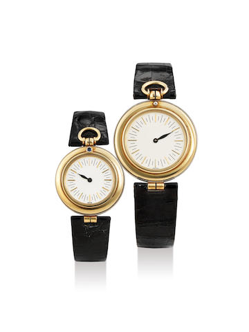 Audemars Piguet. A Pair of Yellow Gold and White Gold Men's and Lady's Wristwatch, Ref. 617818, C#B81165, Ref. 61.78.16, C# B95586, With 1 pouch and outer, With pouch