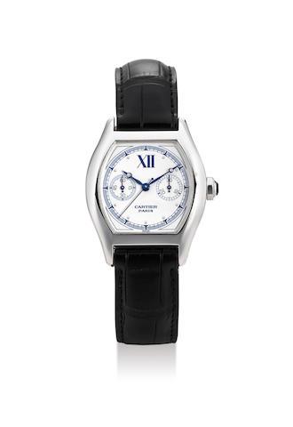Cartier. A White Gold Single Button Chronograph Wristwatch