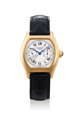 Cartier. A Fine Yellow Gold Single Button Chronograph Wristwatch