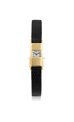 Cartier. A Rare Lady's Yellow Gold Miniature Wristwatch, With box
