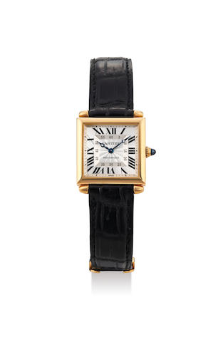 Cartier. A 18K Yellow Gold Square Wristwatch, With box, certificate and instruction manual