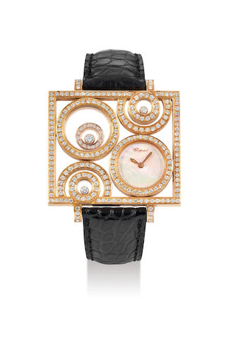 Chopard. A Fine Pink Gold and Diamond Wristwatch with Mother-of-Pearl Dial, With certificate