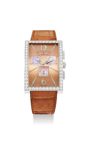 Corum. An Oversized White Gold and Diamond Chronograph Wristwatch with Date and Pink Mother-of-Pearl Dial