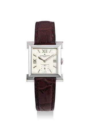 Vacheron Constantin. A Limited Edition White Gold Wristwatch with Square Shoulders