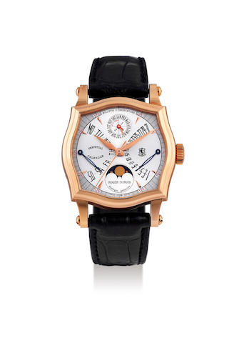 Roger Dubuis. A Limited Edition Pink Gold Perpetual Calendar Wristwatch with Moon-Phases and Leap Year Indication