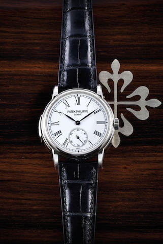 PATEK PHILIPPE. A platinum minute repeating wristwatch with enamel dial, 5078P, with box, cert & spare back