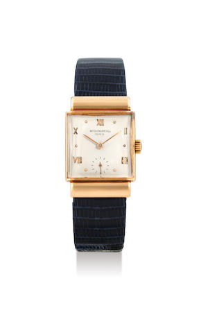 Patek Philippe. A Pink Gold Square Wristwatch with Hooded Lugs