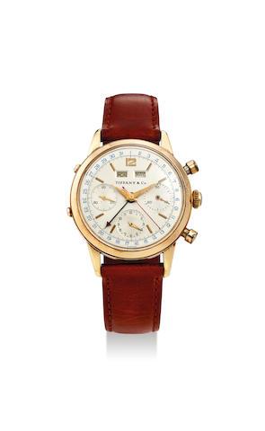 Wakmann Watch Co. for Tiffany & Co. A Yellow Gold Triple Calendar Chronograph Wristwatch