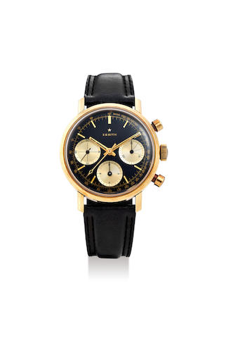 Zenith. A Yellow Gold Chronograph Wristwatch with Triple Black Dial