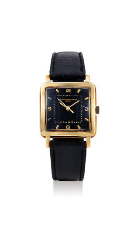 Vacheron & Constantin. A Yellow Gold Square Wristwatch with Black Dial