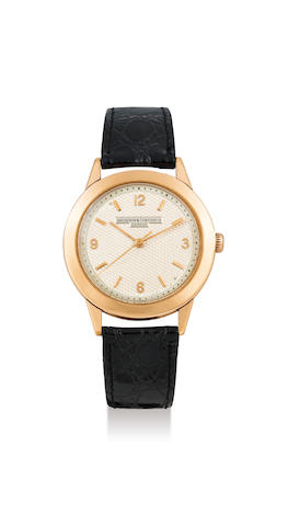 Vacheron Constantin. A Rare and Large Pink Gold Centre Seconds Wristwatch with Textured Dial